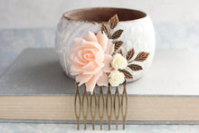 Load image into Gallery viewer, Pale Peach Blush Rose Comb - C1016