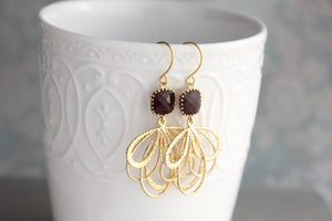 Gold Loop Earrings - Burgundy
