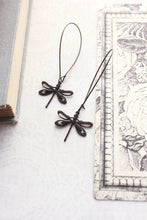Load image into Gallery viewer, Long Dragonfly Earrings - Black Brown Patina