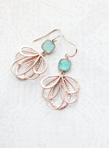 Rose Gold Loop Earrings - Teal