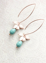 Load image into Gallery viewer, Rose Gold Orchid Earrings - Teal Pearl