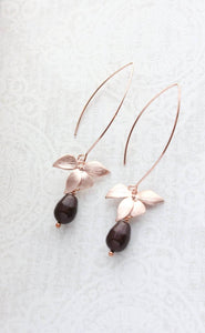 Rose Gold Orchid Earrings - Oxblood