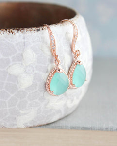 Sparkle Drop Earrings - Mint