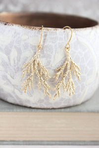 Gold Spruce Branch Earrings