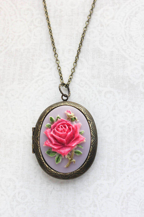 Big Cameo Locket - Hot Pink