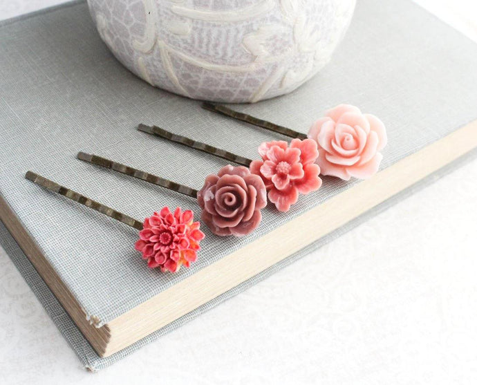 Pink Flower Bobby Pins - BP1010