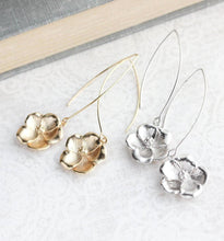 Load image into Gallery viewer, Dogwood Flower Dangles - Gold or Silver