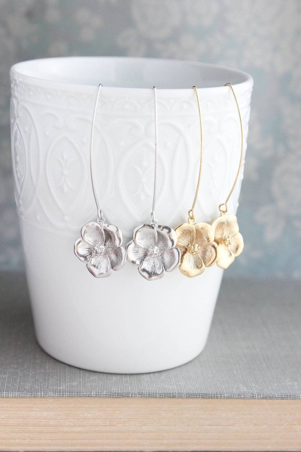 Dogwood Flower Dangles - Gold or Silver