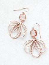 Load image into Gallery viewer, Rose Gold Loop Earrings - Peach Champagne