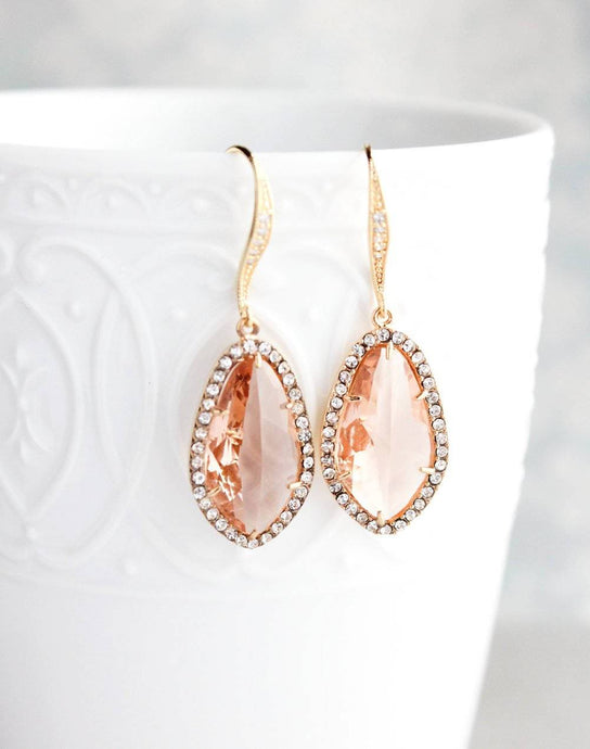 Sparkly Dangle Earrings - Peach /Gold