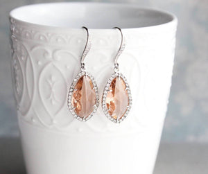 Sparkly Dangle Earrings - Peach /Silver