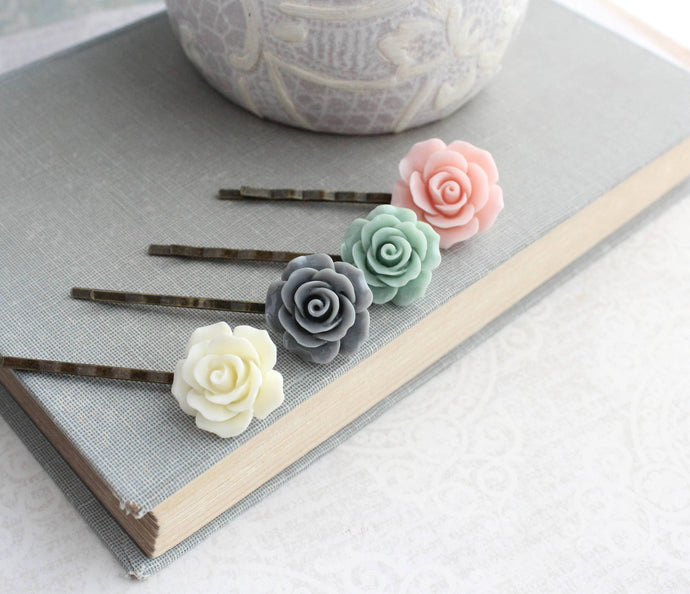 Pink Rose Bobby Pins - BP1214