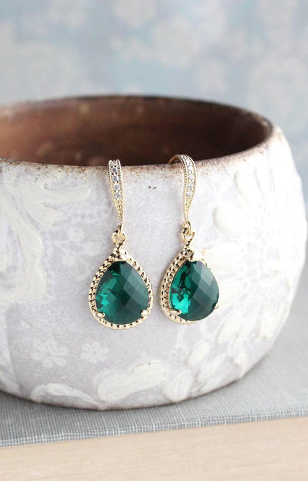 Sparkle Drop Earrings - Emerald Green