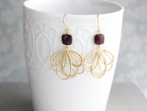 Silver Loop Earrings - Maroon
