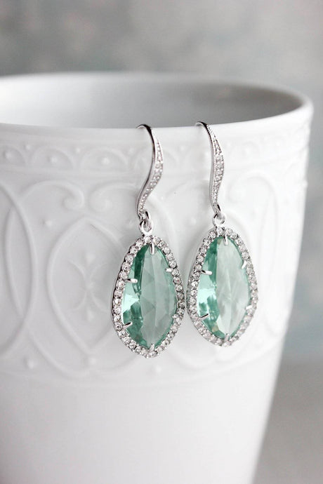 Sparkly Dangle Earrings - Erinite /Silver