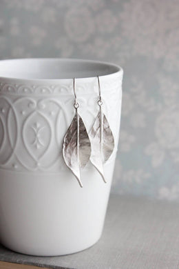 Curled Leaf Earrings - Silver NEW