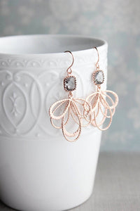 Rose Gold Loops Earrings - Smoke Grey