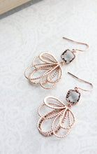 Load image into Gallery viewer, Rose Gold Loops Earrings - Smoke Grey