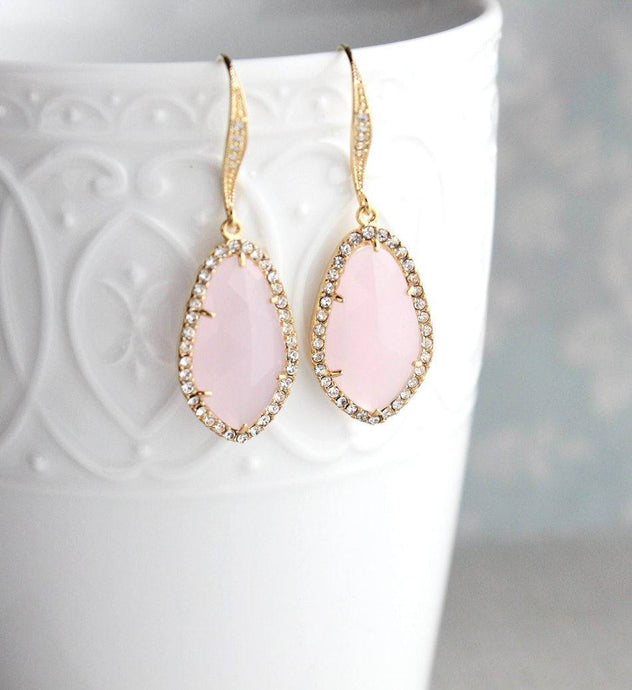 Sparkly Dangle Earrings - Pink /Gold