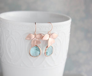 Rose Gold Orchid Earrings - Aqua