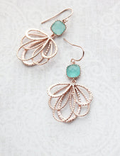 Load image into Gallery viewer, Rose Gold Loop Earrings - Teal