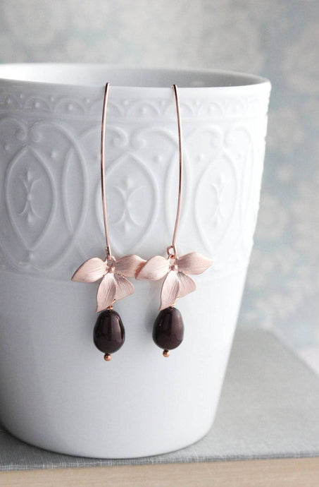 Long Orchid Earrings - Oxblood