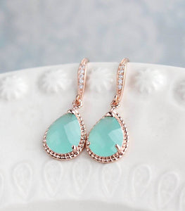 Sparkle Drop Earrings - Peach Blush
