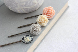 Peach and Grey Rose Hair Pins - BP1009