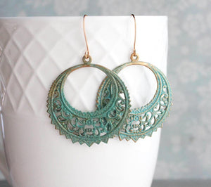 Round Verdigris Filigree Earrings