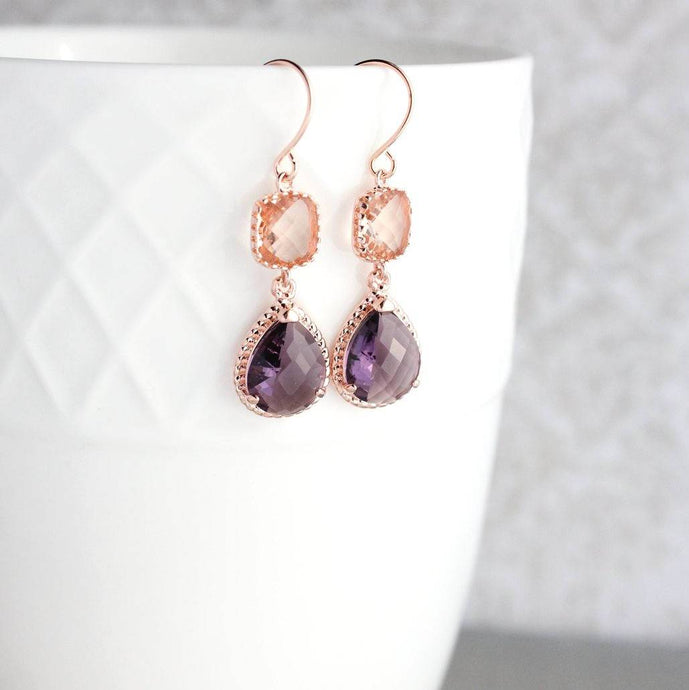 Sparkle Drop Earrings Rose | Blush | Amethyst