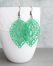 Load image into Gallery viewer, Jade Green Filigree Earrings