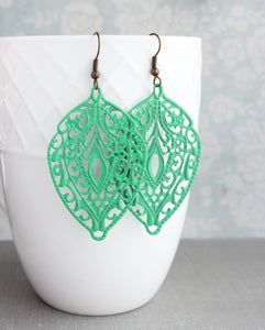 Jade Green Filigree Earrings