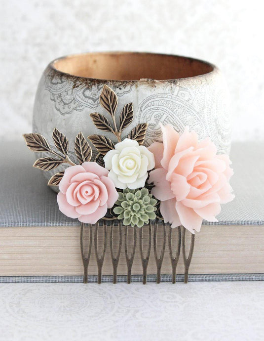 Pink and Green Floral Comb - C1029