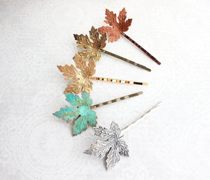 Maple Leaf Bobby Pins - Antiqued Gold