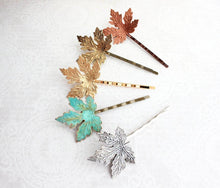 Load image into Gallery viewer, Maple Leaf Bobby Pins - Verdigris