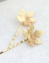 Load image into Gallery viewer, Maple Leaf Bobby Pins - Gold