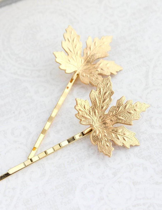 Maple Leaf Bobby Pins - Gold