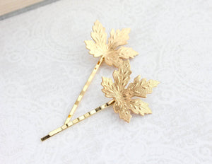 Maple Leaf Bobby Pins - Verdigris