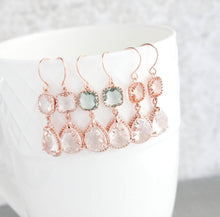 Load image into Gallery viewer, Sparkle Drop Earrings Rose Gold | Clear