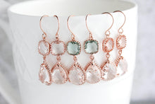 Load image into Gallery viewer, Sparkle Drop Earrings Gold | Peach Blush | Clear