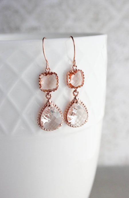 Sparkle Drop Earrings Gold | Peach Blush | Clear