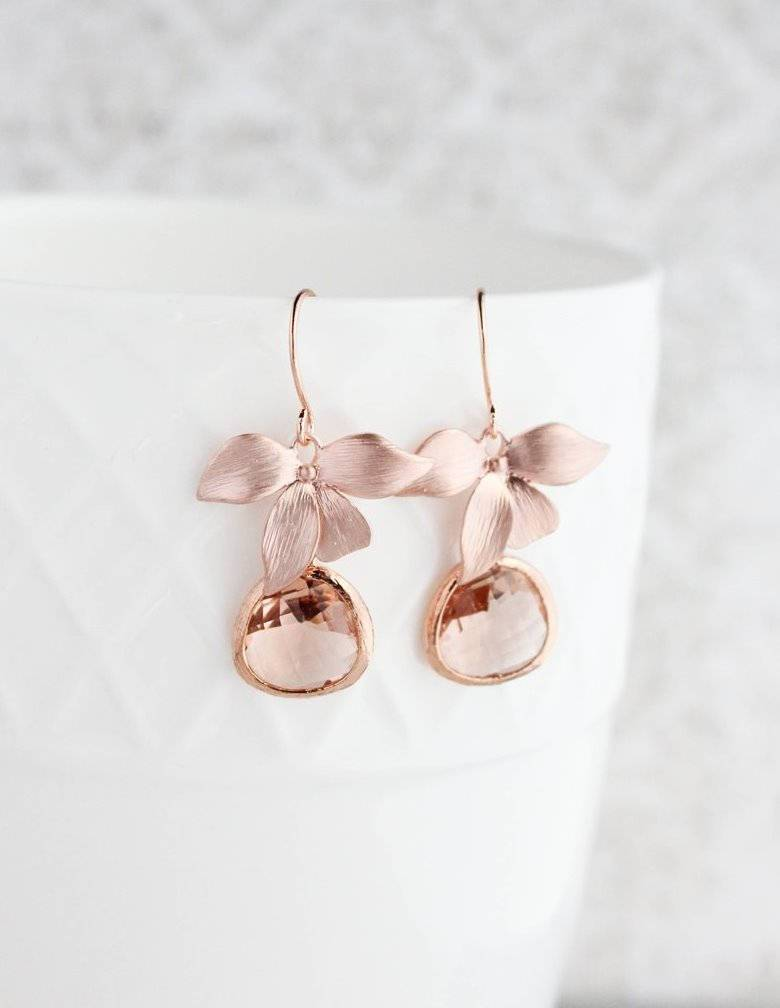 Rose Gold Orchid Earrings - Peach