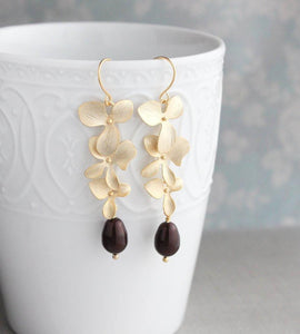 Long Gold Orchid Earrings - Oxblood