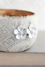 Load image into Gallery viewer, Cherry Blossom Earrings - Matte Silver Short