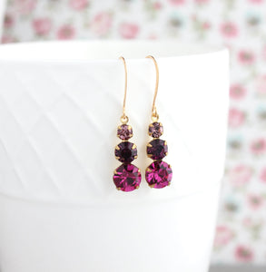 Three Jewel Drop - Fuchsia