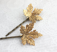 Load image into Gallery viewer, Maple Leaf Bobby Pins - Antiqued Gold