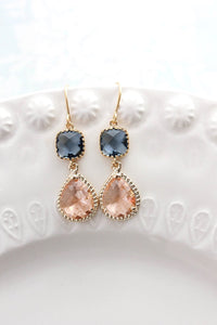 Sparkle Drop Earrings Gold | Montana Blue | Peach Blush