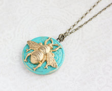 Load image into Gallery viewer, Bee Locket Necklace - Aqua Patina