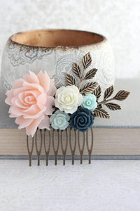 Blush Pink Rose Comb C1012