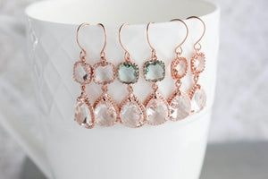 Sparkle Drop Earrings Rose | Aqua | Clear